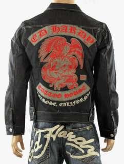 100% Auth Ed Hardy Mens Tattoo House Short Jeans Jacket