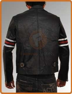 House MD Black Vintage Style Biker Motorcycle Leather Jacket in