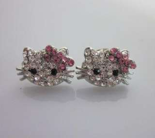 Small Hello Kitty pink bow crystal earring earbob E18