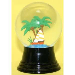 Sailboat and Palm Trees Snow Globe