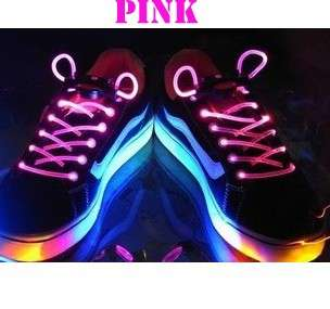 LED LIGHT UP SHOELACES DISCO FLASH LITE GLOW STICK NEON