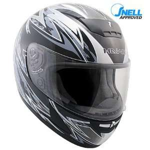 HAWK Snell/DOT Approved Black with Silver Full Face Motorcycle Helmet
