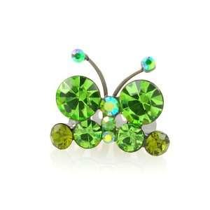 Green Butterfly Swarovski Crystal Mini Tiara Comb 0.85 Wide Beauty