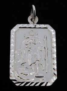 STERLING SILVER SMALL ST CHRISTOPHER PENDANT NECKLACE & CHAIN WITH ANY