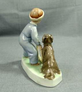 ZSOLNAY PECS HUNGARY BOY&DOG PORCELAIN FIGURINE~A.SINKO