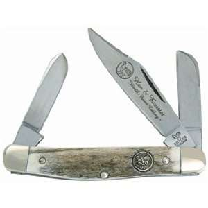 Hen & Rooster Pocket Knife Medium Stockman Genuine Deer Stag 333 DS