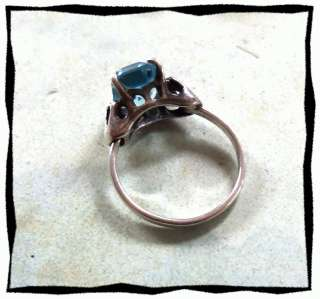 Coventry Sterling Silver & Lt Blue Stone Ring Size Adjustable