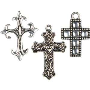 Silver Mixed Cross Metal Charms, 3 Pack   911312 Patio