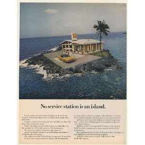 1970 Shell Oil Gas Service Station on Island Print Ad
