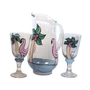 Painted Pitcher & Glasses Set. Features Flamingos & Palm Trees. Made