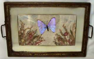 ANTIQUE VICTORIAN BUTTERFLY DRIED PRESSED FLOWER TRAY