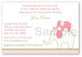 Pink Green Elephant Baby Shower Invitation Printable