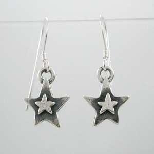 Cute Little Star Dangle Earrings in Sterling Silver, #9236