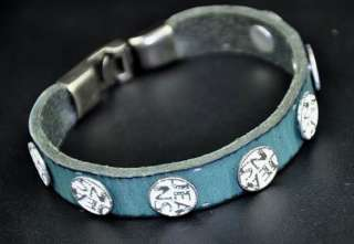 COOL MENS METAL STUD LEATHER BRACELET WRISTBAND BLUE