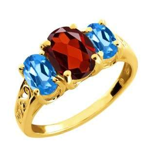2.50 Ct Oval Red Garnet and London Blue Topaz 10k Yellow