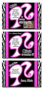 Custom Barbie Zebra Print Birthday Party Invitations