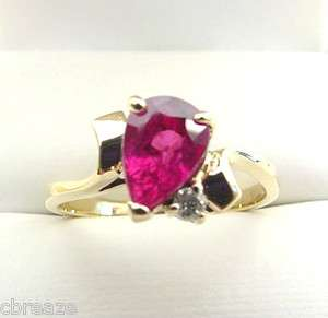 BEAUTIFUL COLOR NATURAL RUBY PEAR SHAPE & DIAMOND 10K GOLD RING