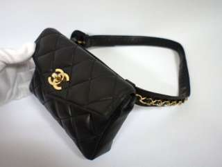 CHANEL Black Lambskin Leather Waist Bag Pouch SALE  PRICE $