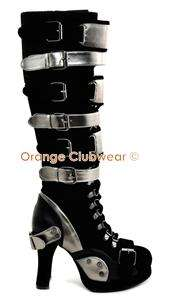 DEMONIA Crypto 315 Womens Sexy Cyber Punk Gothic Knee High Platform