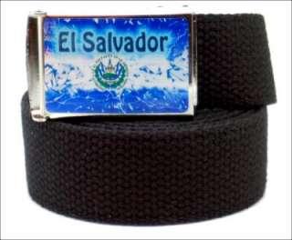 CUSTOM MADE EL SALVADOR CANVAS WEB BELT & BUCKLE