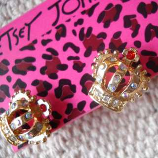 Stud Earrings Gift FS Women Jewelry Lovely Gold Tone Rhinestone Crown