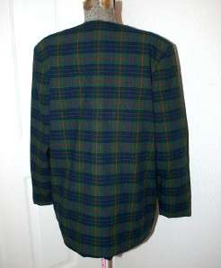 Allison Daley Womens Washable Deep Green Plaid Blazer Jacket Coat Size