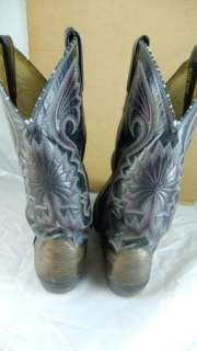 Dan Post Cowboy Boots Black Leather Alligator Used Mens 10 D
