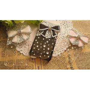 4g Crystal Diamond Bow Tie Pattern Hard Case/Cover/Protector(Black Bow
