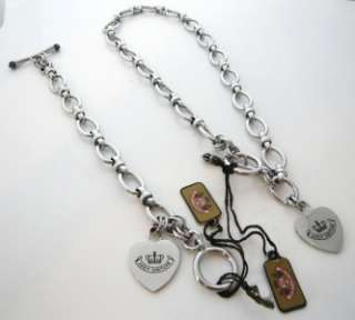 Auth Juicy Couture Silver Heart Starter Chain Necklace and Bracelet