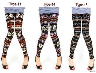 NEW Women Wool Blend Nordic Patterns Thermal Fleece Winter leggings