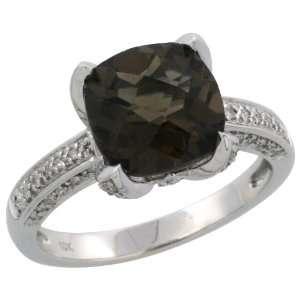 10k White Gold Stone Ring w/ 0.25 Carat Brilliant Cut Diamonds & 3.49