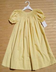 NWT Boutique ROSALINA Yellow Check Gingham Ready to Smock Bishop Dress
