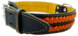 Braided Black Leather Dog Collar 21 27 XLarge 1.75