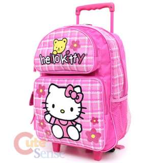 Sanrio Hello Kitty Large School Roler Bag Rolling Backpack Pink Teddy