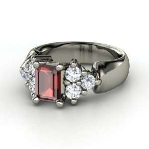 Astrid Ring, Emerald Cut Red Garnet Sterling Silver Ring