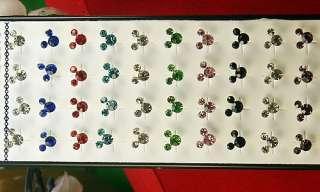 Mickey Rhinestone Pierced Stud ear Earrings 40PCS Mixed Colors