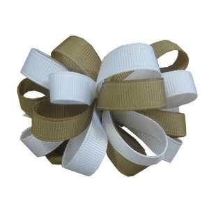 Beige and White Two Color Ribbon Bow Barrette