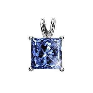 White Gold Pendant with Blue Diamond 1/2 carat Princess cut Jewelry