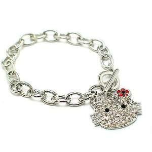 Kitty Crystal & Red Flower Silvertone Toggle Bracelet