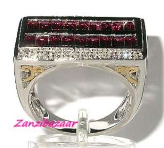 LAURA RAMSEY 14K WHITE GOLD RHODOLITE GARNET & DIAMOND RING