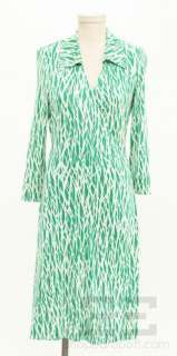 DVF Diane Von Furstenberg Vintage Green & White Silk Print Wrap Dress