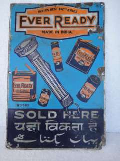Rare Vintage Porcelain Enamel Sign of Everready Battery