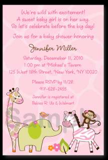 Jungle Jill Girl Baby Shower Invitation Print Your Own
