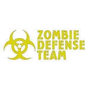 ZOMBIE DEFENSE TEAM   6 YELLOW   Vinyl Decal Window Sticker