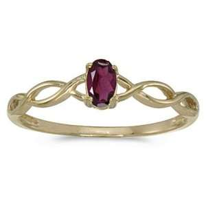 10k Yellow Gold Oval Rhodolite Garnet Birthstone Ring Jewelry