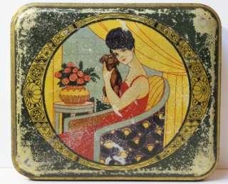 Antique Art nouveau Lady & Dog Biscuit Tin.1900s