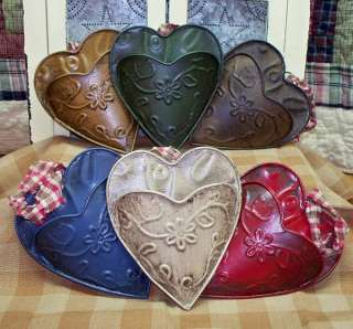 PRIMITIVE METAL HEART WALL POCKET, EMBOSSED, 6 COLORS