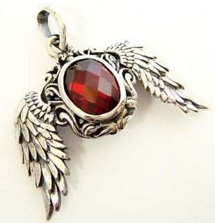 RED RUBY OVAL BIRD ANGEL WING STERLING SILVER PENDANT