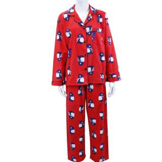 Womens Flannel Pajama Pyjamas Set Top Pants Penguin Red