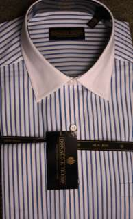 Donald Trump Blue & White Stripe French Cuff Shirt